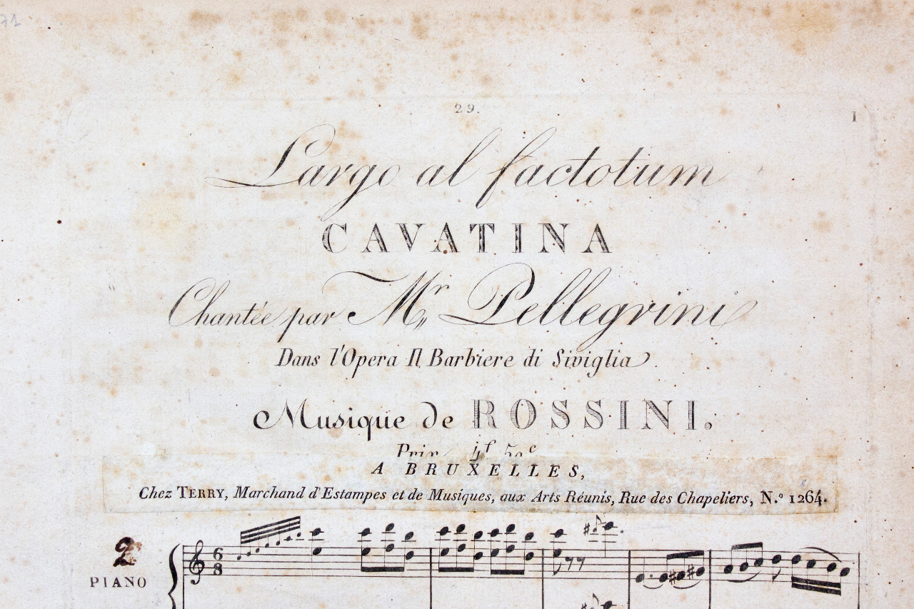 The famous cavatina 'Largo ad factotum' from 'Il Barbiere di Siviglia'. French edition, with an added impressum from the Brussels music shop Terry. FEM-271.